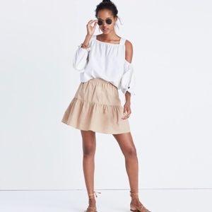 NWT Madewell Tan Khaki Ruffle Hem Cotton Skirt